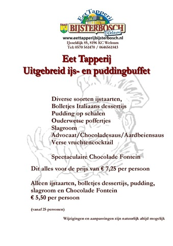 Buffet ijs en pudding